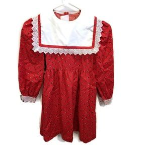 Vtg Girls Bib Dress Red Floral lace sz 6